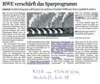 13.09.2014 KStA - RWE verschärft Sparprogramm